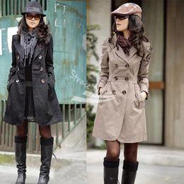 2013 nuevas mujeres Slim Fit moda doble botonadura Casual negro, marrón, de color caqui largo Outwear envío gratis 3375 desde fabricantes