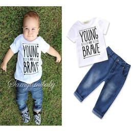 Wholesale White Colour Pants - 2017 Boys Childrens Clothing Sets White Toddler T-shirts Jeans Pants 2Pcs Set Summer Letter Infant Kids tshirts Boutique Clothes Outfits