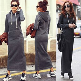 Wholesale Warm Pocket - HOT Fall Winter Women Black Gray Sweater Dress Fleeced Hoodies Long Sleeved Slim Maxi Dresses S M L XL XXL Soft Warm Winter Dress M176