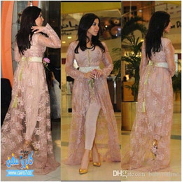 Wholesale Green Fairy Pictures - Kim Kardashian Fairy Tale Style Celebrity Lace Evening Dresses With Long Sleeves Appliques Hi-lo Split Prom Gowns(Just Out Lace Coat)BO8658