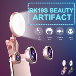 Wholesale X Lens Led - RK19S LED Selfie Flash Light Fill Light Warm&Cold Bulbs With Wide Angles Fisheye Marcro Lens 360 Rotation For iPhone X 8 Phones