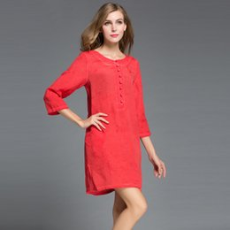 Wholesale Dress Oem - Wholesale OEM accept customized women loose dresses long sleeve o-neck real silk linen sun protective casual shore dress plus sizes