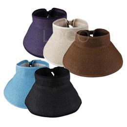 Wholesale Roll Up Visor Hat - Wholesale-New Stylish Girls Foldable Cap Up Roll Wide Brim Straw Sun Visor Beach Hat Cap Elegant Shape