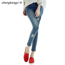Wholesale 4xl Jeans For Women - 2016 Jeans Woman Casual Fashion Ripped Jeans Skinny Women Denim Pants Blue Capris Brand Trousers For Women Ladies Denim Pant