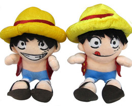 Wholesale Luffy Soft Toy - 20cm 7.8 Anime One Piece Monkey D Luffy Mini Plush Toy Doll with Ring Soft Stuffed Doll figure Cartoon Kids toys Birthday gift.ZJ1001