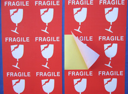 Wholesale Sticker Fragile - latest high quality stock red and white square fragile caution paper self adhesive sticker