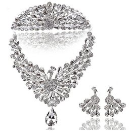 Wholesale Crown Earring Necklace Sets - 2015#81 Bridal Headband Clear Austrian Rhinestone Crystal Necklace Earrings Set Bridal Crown Tiara Wedding Jewlery Hot Selling