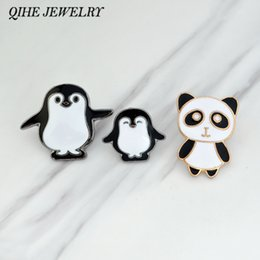 Wholesale Panda Pins - QIHE JEWELRY Brooches & pins Penguin panda brooches Backpack hat collar badges Animal pins Penguin jewelry