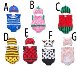 Wholesale Yellow Clothes For Baby Boy - Free DHL Newborn Clothes Rompers For Babies Baby Boy Girl Romper Children Sleeveless Cotton Jumpsuits Kids insect Printed Bodysuits with hat