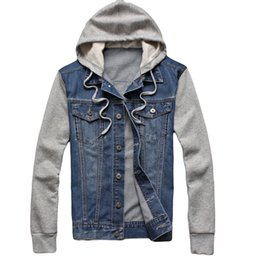 Wholesale Mens Jacket Trend - Fall-Korean Trend Mens Denim Jacket Sleeve Patchwork Hoodies Jean Jackets For Men New Brand Clothing Outdoor Sport Jogging Coat Male