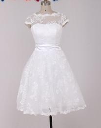 Wholesale Rounded Neckline Wedding - 2015 Lovely Wedding Dresses A-line Round Neckline Short Sleeve Lace Ivory Vintage Wedding Gown Bride Dress