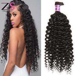 Wholesale Natural Virgin Human Hair Bulk - 8A Brazilian Virgin Kinky Curly Hair 4Pcs Bulk Hair No Weft Brazilian Curly Bulk Hair Human Hair Mix Length