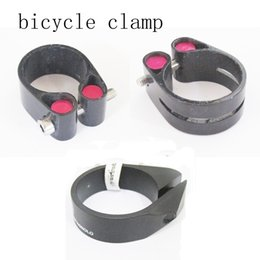 Wholesale Carbon Bike Seat Clamp - road bicycle seatpost clamp carbon fiber bike seat pole clamps 31.6 34.9 mm mtb cycling parts seat post clamp clip 14g