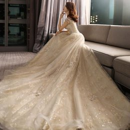 Wholesale Pink Camo Plus - long train off the shoulders Champagne lace ball gown wedding dresses 2018 full heavily embroideried bridal wedding gowns
