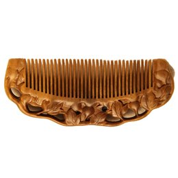 Wholesale Wide Tooth Comb Wholesale - Mybasy 1PCS Natural whole wood green sandalwood comb is massaged in antistatic and with the wide tooth comb and gourd carved soli