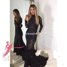 Wholesale Ladies Club Wear Fashion - Sexy Backless Black Full Lace Appliques 2017 Mermaid Evening Dresses High Collar Long Sleeve Sweep Train Illusion Ladies Dresses
