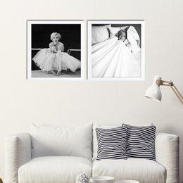 Wholesale Marilyn Monroe Canvas Art - Simple 2 paintings beautiful Marilyn Monroe Scandinavian home decorate room art wall