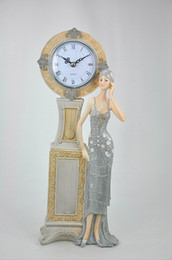 Wholesale Elegant Alarm - Free Shipping Ou clock Resin handicraft figure decoration home decoration and elegant girl Clock