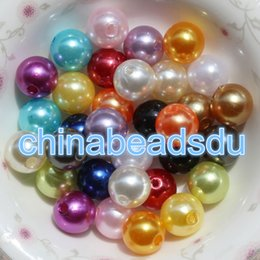 Wholesale 8mm Plastic Pearls - Bulk Wholesale cheap Round Opaque spacer charms assorted color 8MM 1.8MM hole 1000PCS Acrylic plastic pearl beads