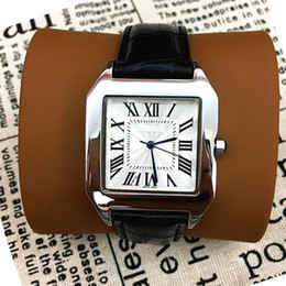 Wholesale Square Dial Watches Men - Square Dial Face Classic Man Women leather Watch Famous design Steel strap Business Lady Watch High Quality Top Brand Male Quartz Clock