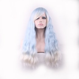 Wholesale Long White Wig Curly - WoodFestival ombre wig with bangs women blue gradient white harajuku long corn fluffy curly hair wigs ladies kinky curly synthetic fiber wig