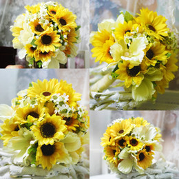 Wholesale Cheap Hand Hold - Country Sunflower Artificial Wedding Bouquets 2018 High Beach Garden Cheap Yellow Real Touch Flowers Bridal bridesmaid Hand Holding Flower