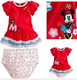 Wholesale Ems Girls Dresses - Wholesale-EMS DHL Free shipping Toddlers baby Girls Short Sleeve Minnie Mouse Red Dress Dot Bloomers Two PC Suit For Summer