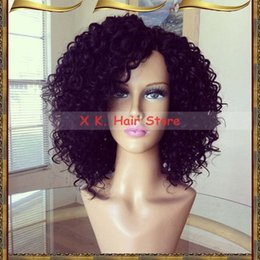 Wholesale Burgundy Long Half Wig - Remy Brazilian Hair Short Curly Lace Front Wigs Glueless Virgin Hair Short Full Lace Human Hair Wigs Baby Hairs Around Free Shipping