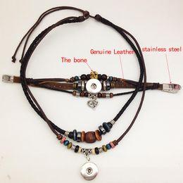 Wholesale Leather Bracelet Necklace Set - Genuine leather snap button necklace snap button bracelet ( fit 18mm 20mm snap) TP611 noosa snap chunk jewelry