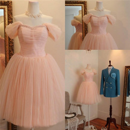 Wholesale Prom Dress Tulles Ball Gown - Romantic Tulles Puffy Skirt 2015 Homecoming Dresses Charming Off the Shoulder Sequins Empire Waist Short Prom Gowns Wedding Party Dress