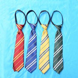 Wholesale Children Neck Ties - Kids Harry Potter Ties Hogwarts Gryffindor Slytherin Ravenclaw Hufflepuff Zipper Striped Necktie Cosplay Gift for Children