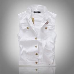Wholesale Men Sleeveless Jean - Fall-All-match Men White Jean Waistcoat Classic Vintage Jean Vest Classic Sleeveless Jean Jacket Asian Size M-XXL