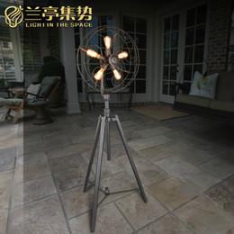 Wholesale Floor Lamps Retro - Floor Lamp Modern Individuality Electric Fan Retro Style Iron Floor Lamp Living Room Bedroom Photostudio Floor Light New