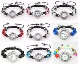 Wholesale Disco Pave Watch - DHL Free Shamballa Watch Pave Crystal Rhinestone Disco Ball Bracelet Watches 100pcs Wholesale