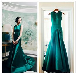 Wholesale Emerald Taffeta - Real Sample New Arrival 2015 Emerald Satin Mermaid Jewel Sweep Train Formal Evening Prom Dresses Occasion Wedding Party Gown