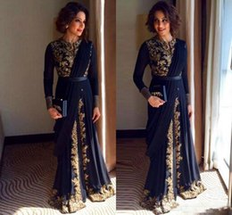 Wholesale Islamic Pictures - Formal Navy Blue Fancy Abaya Evening Dresses Dubai Moroccan Islamic Gold Lace Beads Long Sleeve Arabic Muslim Party Gowns Women Wear