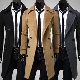 Wholesale Stylish Men Trench Coats - Fall- Fashion Stylish Men Trench Coat Winter Jacket Double Breasted Overcoat Outerwear Long Coat Size: M-XXXL