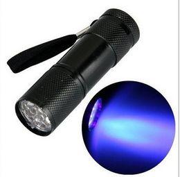 Wholesale Warm White Flashlight - Black 9 LED Purple Light Aluminium Torch UV Flashlight
