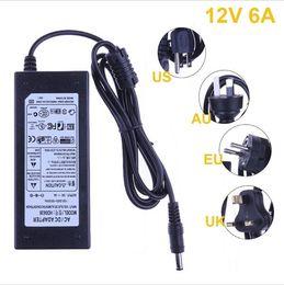 Wholesale Led Ac Dc Adapter - 12V 6A AC DC Power Supply Charger 110V 220V to 12V Transformer Adapter For 5050 3528 LED RGB Strip US UK EU AU Plug To Choose