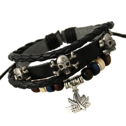 Wholesale Newest Designs Handmade Bracelets - Newest Design Handmade Personalized Braided Skull Pattern Leather Bracelets Bangles