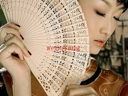 Wholesale Sheet China Wholesale - 200PCS LOT Brand New Vintage Folding Bamboo Hand Fans Wooden Hollow Carved Party Decor Fragrant Sandalwood Fan Free Shipping