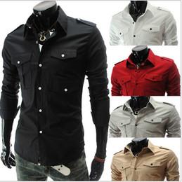 Wholesale Casual Slim Stylish Dress Shirts - 2016 New Fashion men's slim cotton Multi-pocket epaulette long sleeve shirts fit stylish Dress shirt 5 color size M-2XL 5017