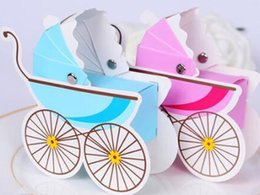 Wholesale Baby Shower Favor Box Carriage - Baby Carriage Style Favor Box Baby Shower Favor Gifts boxes Wedding candy Box event&party supplies free shipping