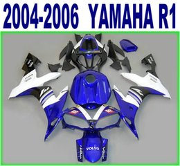 Wholesale Lowering Kit For R1 - 100% Injection molding lowest price fairings set for YAMAHA 2004 2005 2006 YZF R1 blue white black fairing kit 04-06 yzf-r1 bodykits RY37