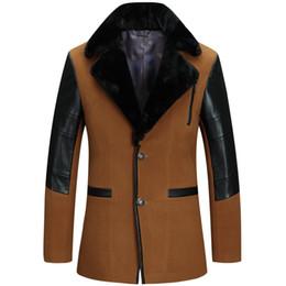 Wholesale Cool Wool Men Coat Winter - Fall-Autumn Winter Fashion Designer Cool Men's Wine Red PU Leather Patchwork Fur Collar Wool Coat , Man Stylish XXXL Woolen Coats