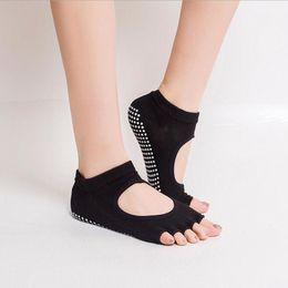 Wholesale Yoga Pilates Toes Socks - Backless 1Pair=2PCS Half Toe Yoga Socks Non-Slip Peep Toe Anti-Slip Pilates Ankle Grip Durable Open Half Five Fingers Cotton Yoga Socks