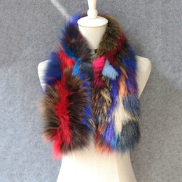 Wholesale Real Fox Scarf - 2017 women colorful color real fox fur scarves female knitted shawls and muffler natural fur neckerchief femme free shipping