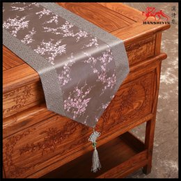 Wholesale Tea Table Cloths - Chinese Knot Patchwork Table Runner Luxury Cherry blossom Damask Tea Table Cloth Table Linen for Dinner Party Christmas Birthday Decoration