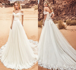 Wholesale Tulle Sweatheart - Oksana Mukha 2018 New A-line Sweatheart Off Shoulder Wedding Dresses Tulle Knot Corset Long Bridal Gowns Sweep Train Fashion Dress For Bride