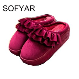 Wholesale ms wear - Ms 2017 winter warm thick bottom wear cotton shoes outside comfortable non-slip shoes cute plush lace cotton women slippers